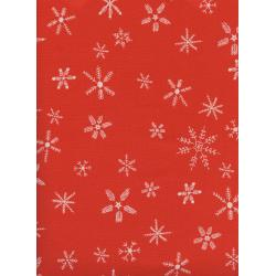 C5190-003 Frost - Flurry - Red Unbleached Cotton Fabric