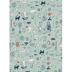 C5127-001 Lil' Monsters - Party - Mint Unbleached Cotton Fabric
