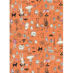C5127-002 Lil' Monsters - Party - Orange Unbleached Cotton Fabric