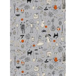 C5127-003 Lil' Monsters - Party - Grey Unbleached Cotton Fabric