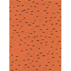 C5131-002 Lil' Monsters - Fresh Bats - Orange Unbleached Cotton Fabric
