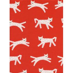C5134-001 Noel - Snow Leopard - Red Unbleached Cotton Fabric