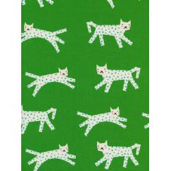 C5134-002 Noel - Snow Leopard - Green Unbleached Cotton Fabric