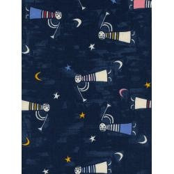 C5135-001 Noel - Angels Singing - Navy Unbleached Cotton Fabric