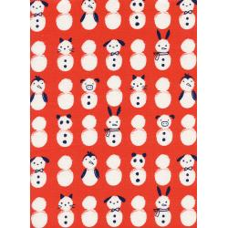 C5136-001 Noel - Snow Babies - Red Unbleached Cotton Fabric