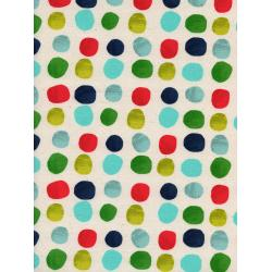 C5137-001 Noel - Painted Dots - Blue Unbleached Cotton Fabric