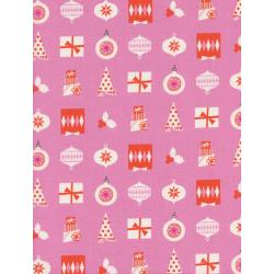 C5138-002 Noel - Wrapped Up - Pink Unbleached Cotton Fabric