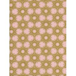 C5141-001 Noel - Gold Flakes - Pink Unbleached Cotton Metallic Fabric