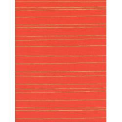 C5143-001 Noel - Gold Stripe - Red Unbleached Cotton Metallic Fabric