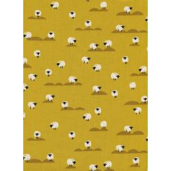C5169-002 Panorama - Sheep - Mustard Unbleached Cotton Fabric