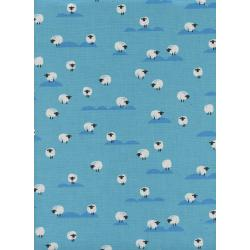C5169-004 Panorama - Sheep - Water Unbleached Cotton Fabric