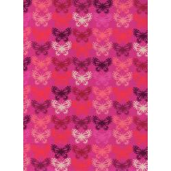 C5176-001 Panorama - Butterflies - Fucshia Unbleached Cotton Fabric
