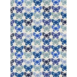 C5176-002 Panorama - Butterflies - Blue Ribbon Unbleached Cotton Fabric