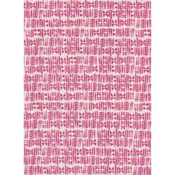 C5177-001 Panorama - Stamps - Hot Pink Unbleached Cotton Fabric
