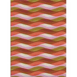 C6012-001 Poolside - Waves - Pink Unbleached Cotton Fabric