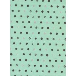 C5011-001 Spellbound - Skull Dots - Mint Metallic Fabric