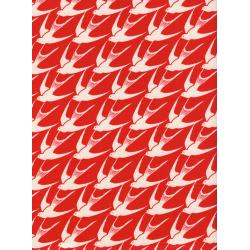 C5099-001 S.S. Bluebird - Flock - Red Unbleached Cotton Fabric