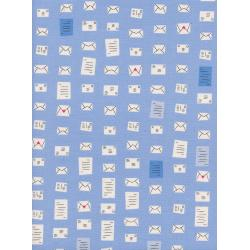 C5100-001 S.S. Bluebird - Notes - Blue Unbleached Cotton Fabric