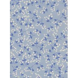 C5101-001 S.S. Bluebird - Bouquet - Blue Unbleached Cotton Fabric