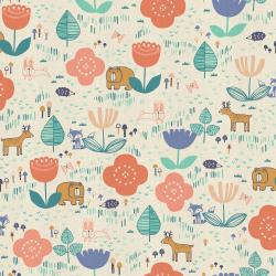 HO100-PE1U Mori No Tomodachi - Tomodachi Ippai - Peach Unbleached Cotton Fabric
