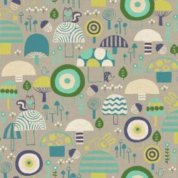HO101-LE2U Mori No Tomodachi - Kinoko Yama - Lemon Unbleached Cotton Fabric