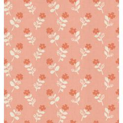 HO105-CO1U Mori No Tomodachi - Odoru Hana - Coral Unbleached Cotton Fabric