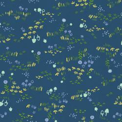 HO106-DA2U Mori No Tomodachi - Nohara - Dark Blue Unbleached Cotton Fabric