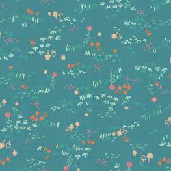 HO106-TE1U Mori No Tomodachi - Nohara - Teal Unbleached Cotton Fabric