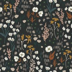 HJ201-AB4R Dear Isla - Meadow - Almost Black Rayon Fabric