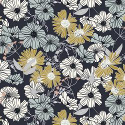 HJ300-NA2 Wallflower - Flower Child - Navy Fabric