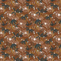 HJ301-UM1 Wallflower - Blooms - Umber Fabric