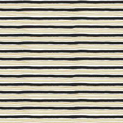 HJ304-BK4M Wallflower - Painterly Stripes - Black Metallic Fabric