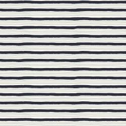 HJ304-NA5 Wallflower - Painterly Stripes - Navy Fabric