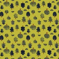 IN101-AV2 Neko and Tori - Tiny Trees - Avocado Fabric