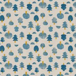 IN101-BL3U Neko and Tori - Tiny Trees - Blue Unbleached Fabric