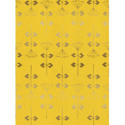 IN104-YE2UM Neko and Tori - Penpengusa - Yellow Unbleached Metallic Fabric