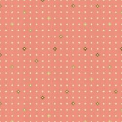 IN105-CO3UM Neko and Tori - Ohanadotto - Coral Unbleached Metallic Fabric