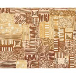 JE105-GS2U Homestead - Plots - Gold Sand Unbleached Fabric