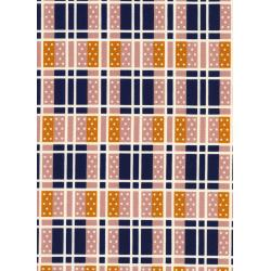 K3018-001 Lucky Strikes - Domino Plaid - Navy Fabric