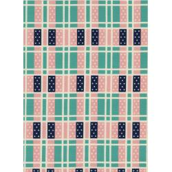 K3018-002 Lucky Strikes - Domino Plaid - Turquoise Fabric