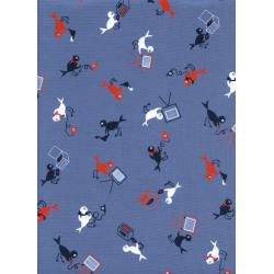 K3032-002 Rotary Club - Hello, Yes This Is Bird - Blue Fabric