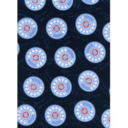 K3033-002 Rotary Club - Dials - Navy Fabric