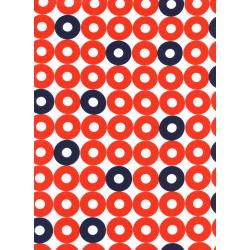 K3034-055 Rotary Club - Ring Rings - Red/Navy Rayon Fabric
