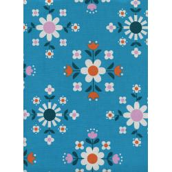 K3057-003 Welsummer - Florametry - Bright Blue Unbleached Cotton Fabric