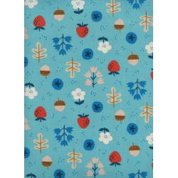 K3059-001 Welsummer - Forage - Bright Blue Unbleached Cotton Fabric