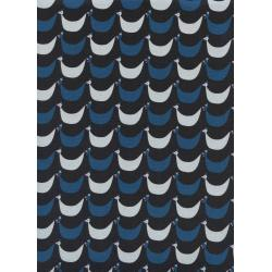 K3060-001 Welsummer - Flock - Black Unbleached Cotton Fabric
