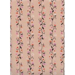 K3061-002 Welsummer - Daisy Vines - Peachy Unbleached Cotton Fabric