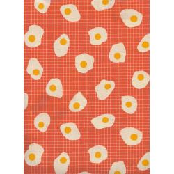 K3062-002 Welsummer - Fried Eggs - Sweet Orange Unbleached Cotton Fabric