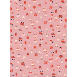 K3042-001 Yours Truly - Love Nest - Pink Unbleached Cotton Fabric