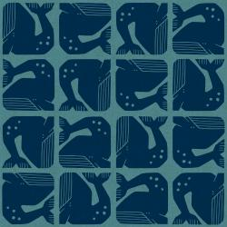 LV100-BL3C By the Seaside - Grumpy Whale - Blue Canvas Fabric
